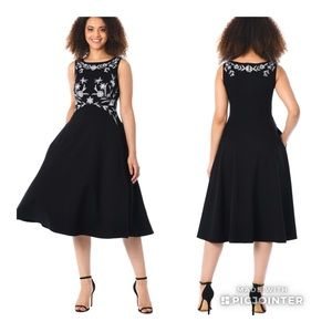 Eshakti Black Floral Embroidered Dress